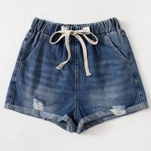 NWT Drawstring Denim Shorts